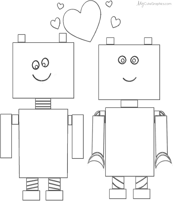 Robot valentine coloring page