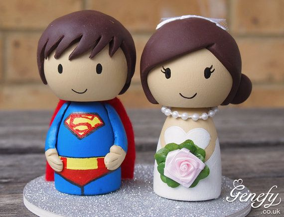Cute SUPERMAN superhero wedding cake topper - Bride and Groom