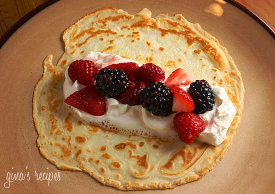 Czech Crepes with Berries and Cream | Skinnytaste - These look like the dutch pancakes my Oma used to make *drool*