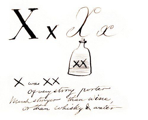 X was XX, of very strong porter..., by Edward Lear. England, late 19th century