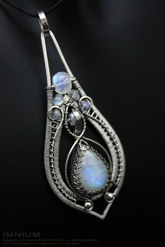 Blue Moonstone Pendant Teardrop Shaped Wire Wrapped