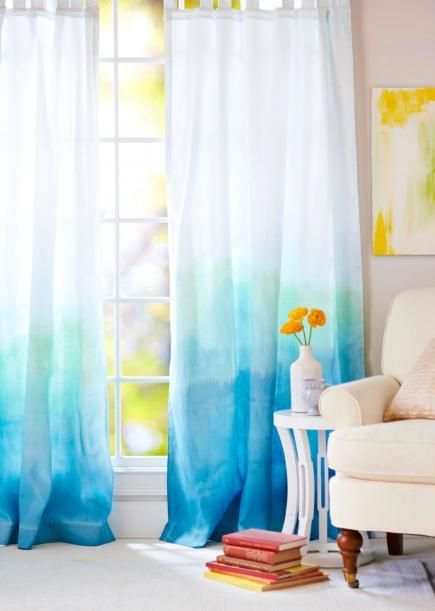 What a pretty look for spring! Dip cotton fabric in a bucket of dye, slowly lifting it out (the lower portions are in the dye the longest, so turn darkest). More DIY curtain ideas: http://www.midwestliving.com/homes/decorating-ideas/15-diy-curtain-makeovers/page/2/0