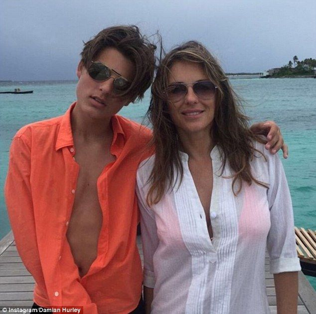 Fun in the sun: The actress was joined on her winter sunshine break by her son Damian, 14,...