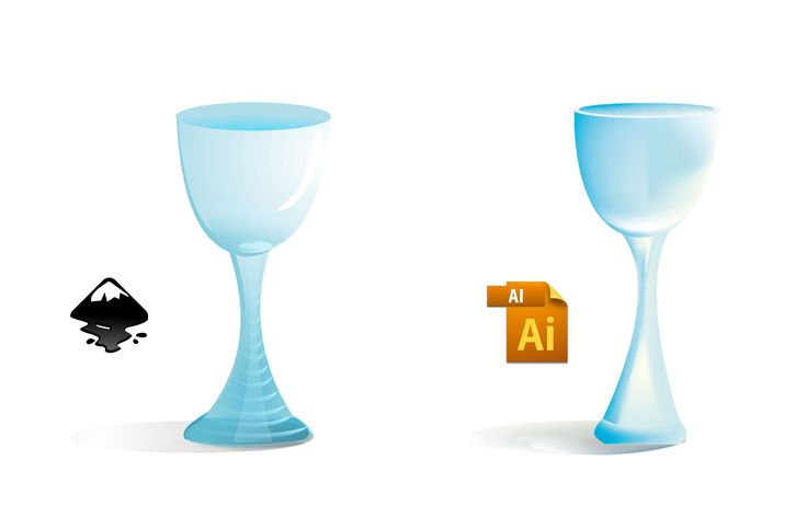 How can you make a vector glass cup using Illustrator software or inkscape software.