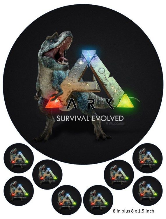 Ark Logo Cake And Cupcake Toppers Gaming Xbox Ps4 Dinosaurs Survival Evolved Cake Logo Cupcake Toppers Cupcake Cakes