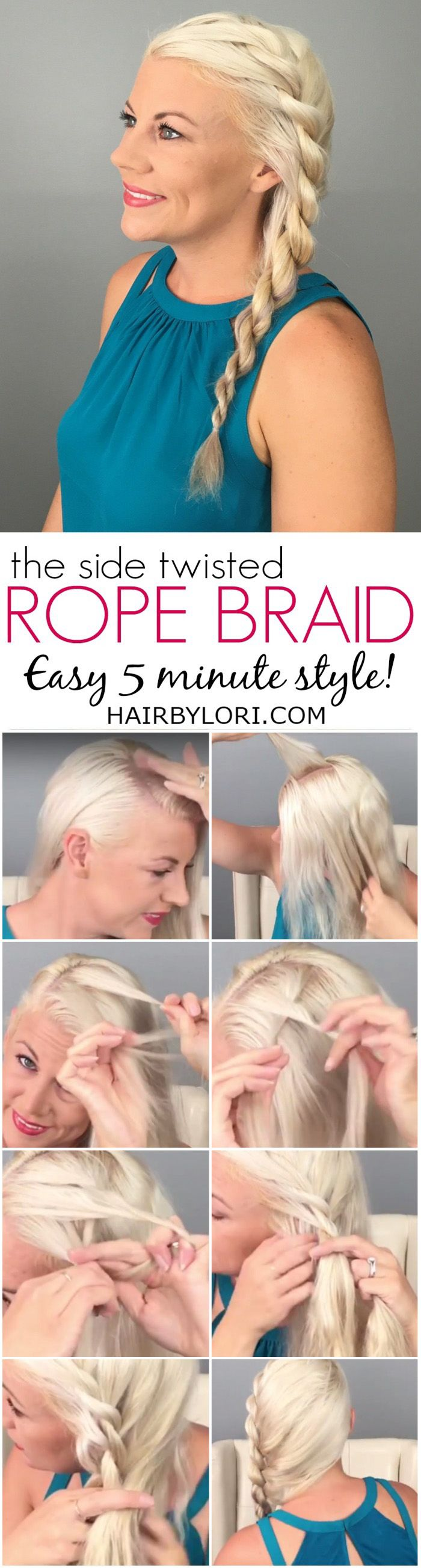 Side Rope Braid Tutorial is Easy & Quick for a simple day or night style.