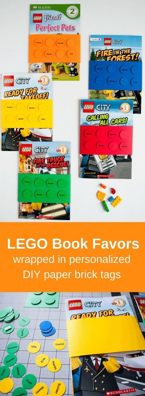 Easy DIY LEGO Birthday Party Favors. Liam's party guest loved them! Wrap LEGO books with personalized paper LEGO brick book wraps for an easy and useful LEGO birthday party favor idea for goodie bags!