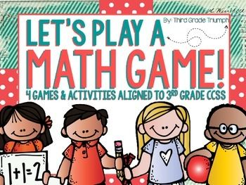 Let's play a math game! This huge pack of over 70+ pages of card games, board games, and quiz activities to practice the 3rd grade math CCSS. This is a perfect way to jazz up your math centers and instruction with this fun and engaging pack! Be sure to check out the preview!What's included:Math Go Round (practice essential math skills in this fun activity around the room) - Assess a majority of 3rd grade math CCSSDivision Bingo (fun and engaging way to review division concepts) - ...