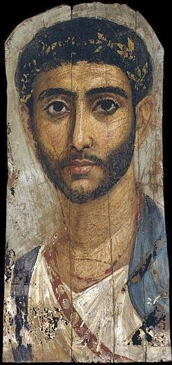 Early Egyptian Roman encaustic painting.  About second century.  Faiyum.