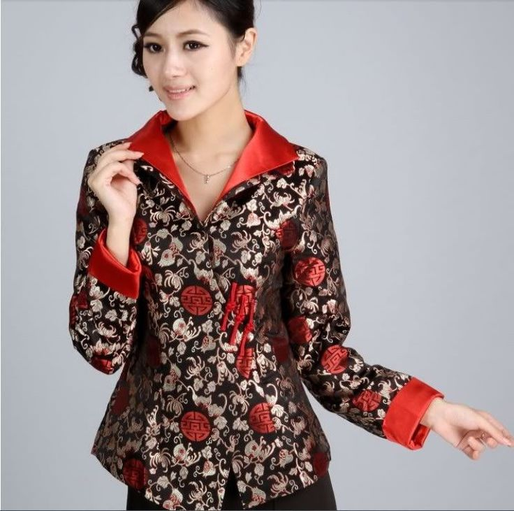 Black/Red Chinese Silk/Satin Embroider Women's Evening Jacket/Coat 6-16