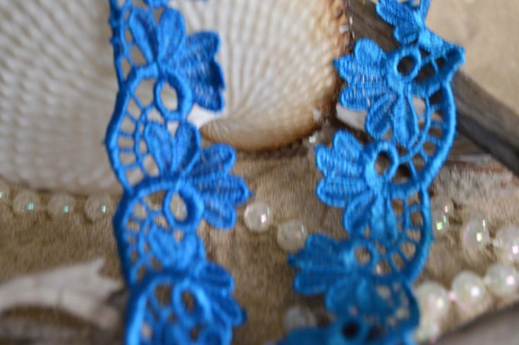 blue lace, 3cm wide, leaf design, ebmbroidered, trim, applique, decorative. (bl006) by TheQuiltedCheese on Etsy