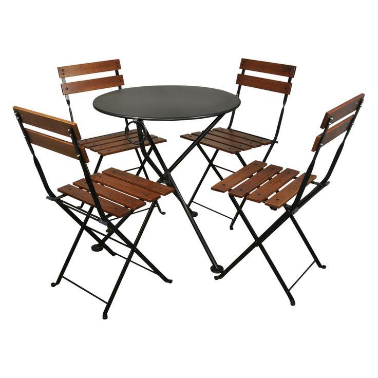 Outdoor Furniture Designhouse French Cafe Bistro Chestnut Wood 5 Piece Round Folding Patio Dining Set - 4140S-5502CW(4)-BK