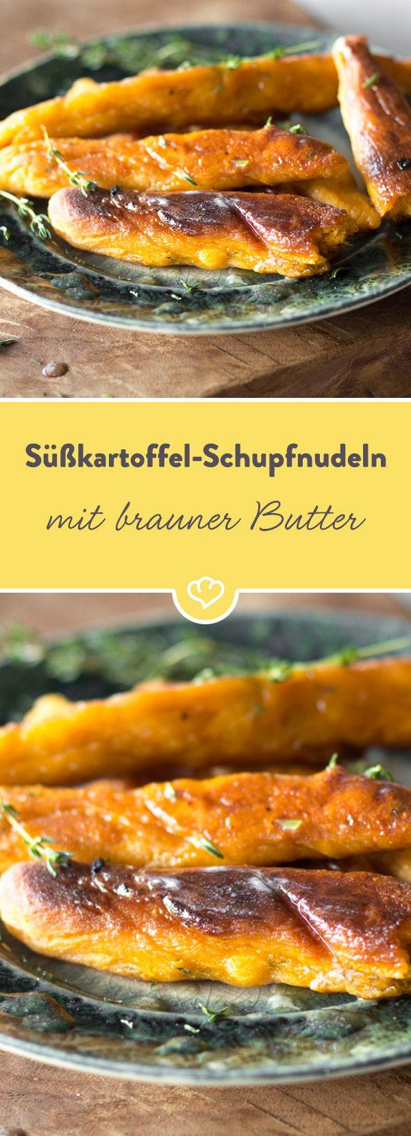 Der Teig aus Süßkartoffeln verleiht den 'deutschen Gnocchi' einen exotischen Touch. Am besten schmecken sie pur: mit etwas Thymian und brauner Butter.