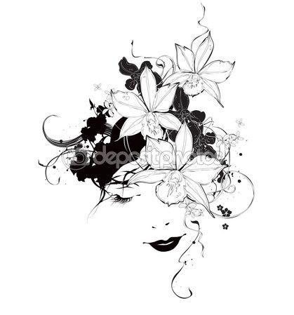 Векторных черно-белая девочка с цветки орхидеи — стоковая иллюстрация #29238989