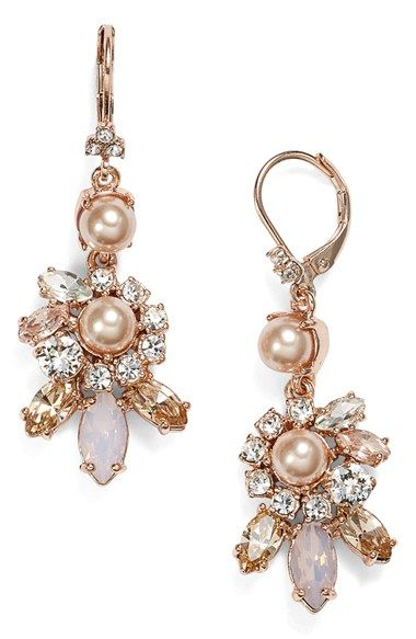 Marchesa Faux Pearl & Crystal Cluster Drop Earrings