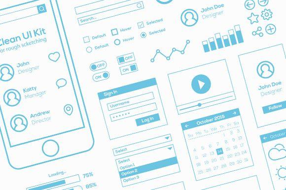 Flat Mobile Web UI Kit For Sketch - Web Elements - 1
