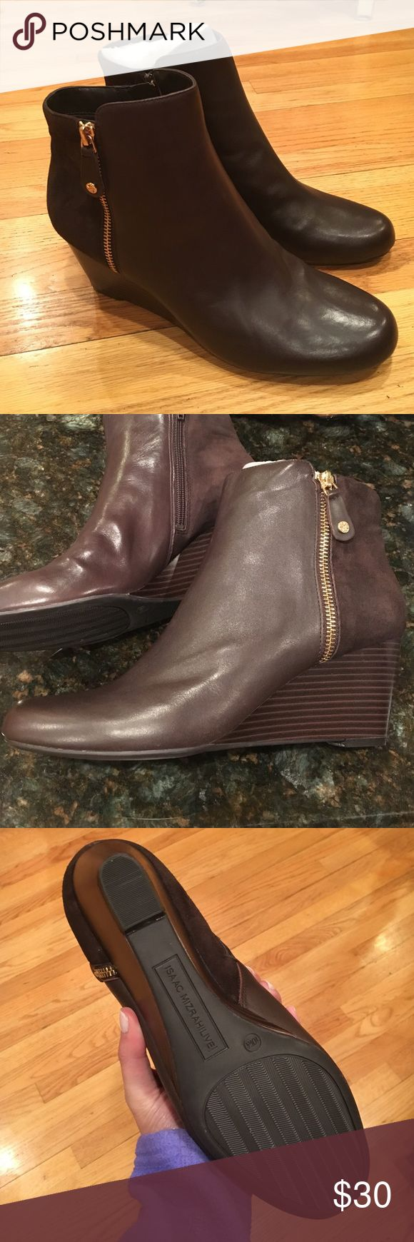 Brown leather ankle boots Brown leather great looking ankle boots with swede on back, gold zipper Isaac Mizrahi Shoes Ankle Boots & Booties