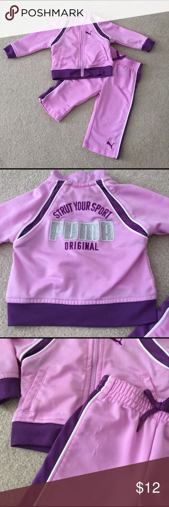 Puma Jogging Suit Puma Jogging suit (for the non-jogger 😂👶🏻🍼) in lavender/purple size 3-6 month. Great condition with slight snagging near the waist on jacket and pants. No stains or tears! Puma Matching Sets