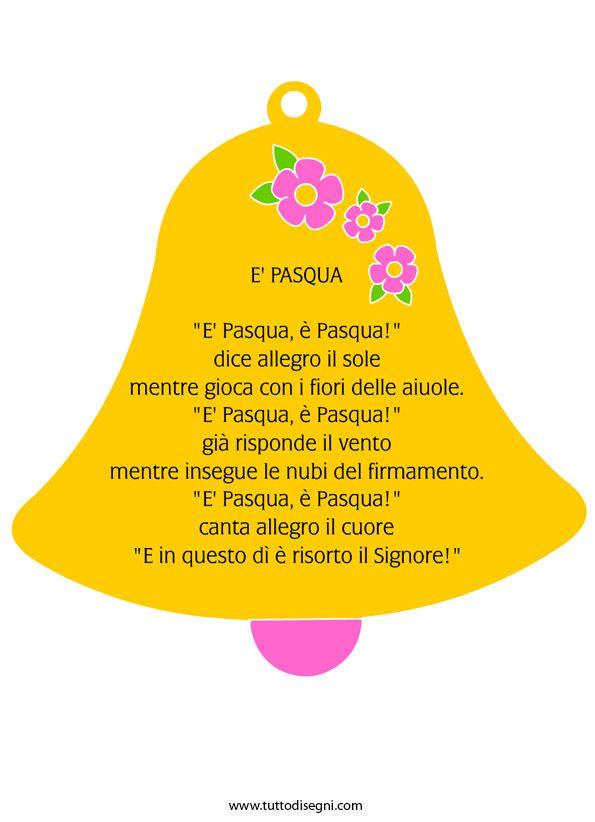 Campana con poesia di Pasqua - TuttoDisegni.com
