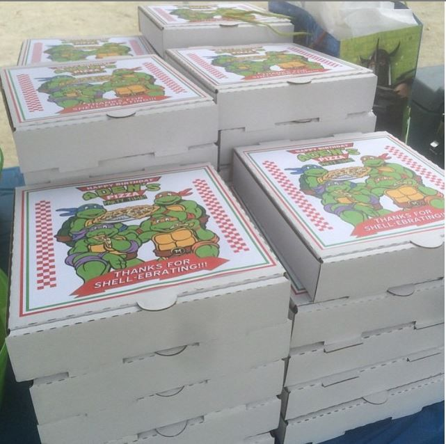 "These awesome TMNT favor boxes were made with our 8"" plain white pizza boxes by one of our customers. She used them for her son's Teenage Mutant Ninja Turtle themed party. You can easily Photoshop your own customized TMNT photo or find printables online to put on them too! #tmntparty"
