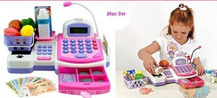 Electronic Cash Register Toy scanner and Credit Card Reader Realistic Actions & Sounds learning toy cash register for girls (26pc)