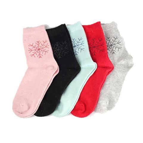 Women Christmas Snowflake Socks Deer Wool Warm Winter Socks