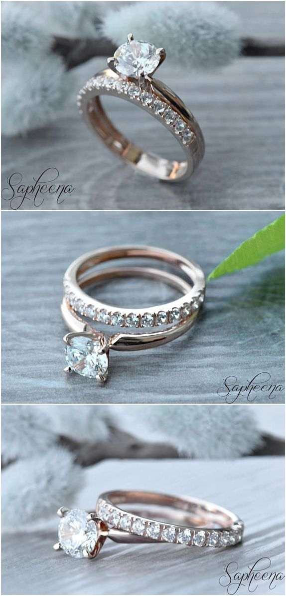 Set of 2 - 1.50 ct Round Cut Solitiare Ring with Half Eternity Band, Solid 14K Rose Gold, Engagement- Wedding Set, Bridal Set by Sapheena Set of 2 - 1.50 ct Round Cut Solitiare Ring with Half Eternity Band, Solid 14K Rose Gold, Engagement- Wedding Set, Bridal Set by Sapheena Set of 2 - 1.50 ct Round Cut Solitiare Ring with Half Eternity Band, Solid 14K Rose Gold, Engagement- Wedding Set, Bridal Set by Sapheena Set of 2 - 1.50 ct Round Cut Solitiare Ring with Half Eternity Band, Solid 14K…
