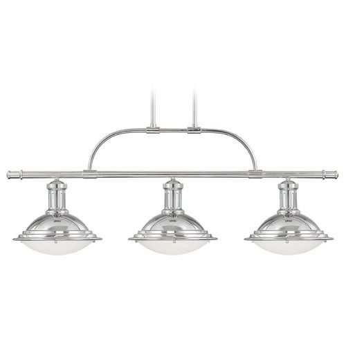 Savoy house polished nickel island light with bowl dome shade 1 4720