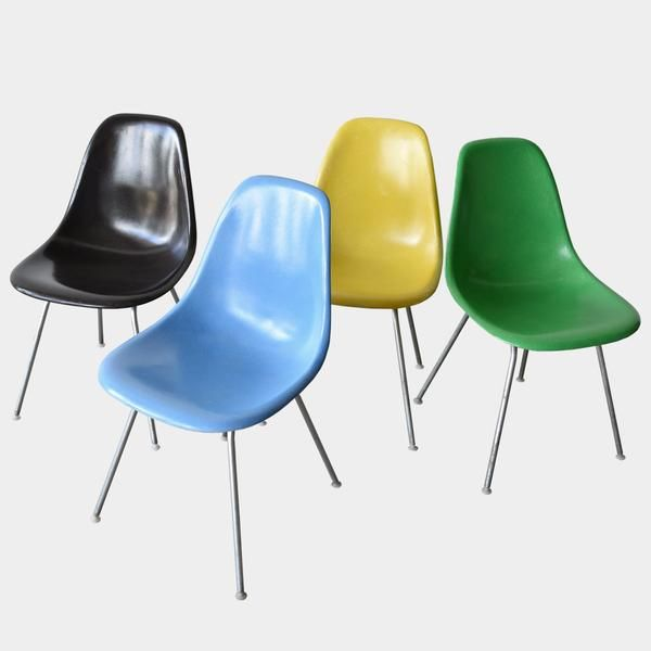 Vintage Eames DSX Set (Canary Yellow, Charcoal, Kelly Green, Turquoise)