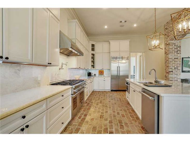 white kitchen Old Chicago brick floors  Remodel in 2019  Brick floor kitchen Brick flooring