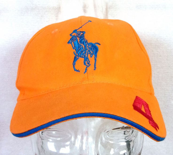 euc Polo Ralph Lauren Fragrances Bright Safety Orange Hat Cap numbered OSFA