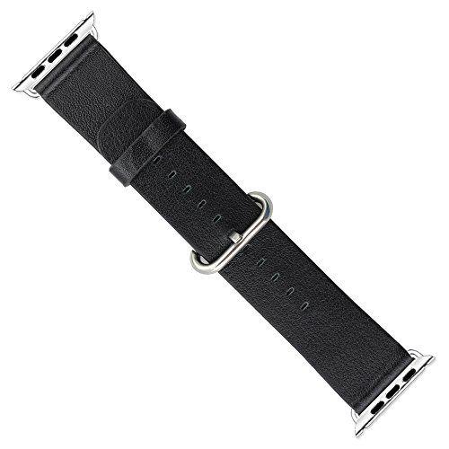 Japace® Leder Uhrenarmband Armband Watch Strap mit Adapter Zubehör für alle Versionen der 38 mm Apple Smartwatch iWatch - Schwarz - http://on-line-kaufen.de/japace/38mm-japace-leder-uhrenarmband-armband-watch-mit-2