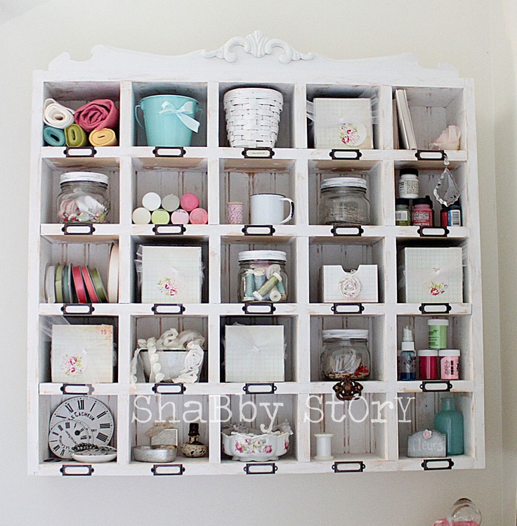 Wall Cubby Shelf For Craft Supplies From Shabby Story