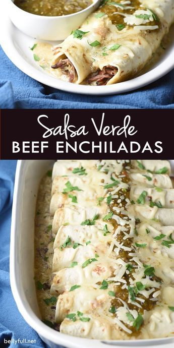 This delicious recipe for Salsa Verde Beef Enchiladas is bursting with authentic…