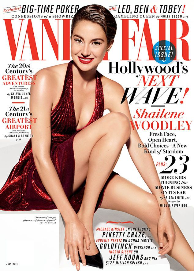 Shailene Woodley is ravishing in red on the July 2014 issue of Vanity Fair!