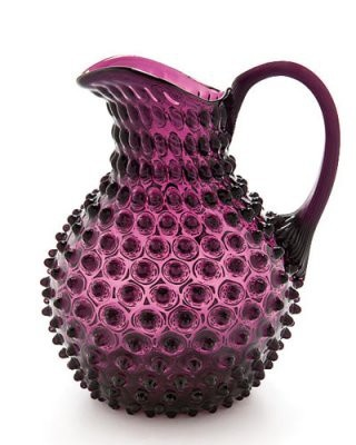glass hobnail pitcher in plum