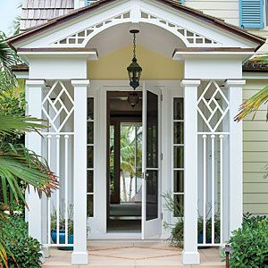 Love this Chippendale-style portico. Southern Living, August, 2013.