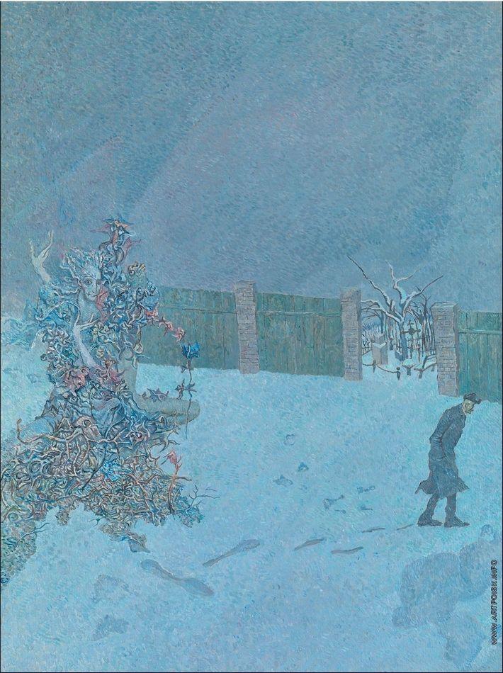 Борис Свешников - Клумба на снегу. 1973. Холст, масло. 79,5 х 59