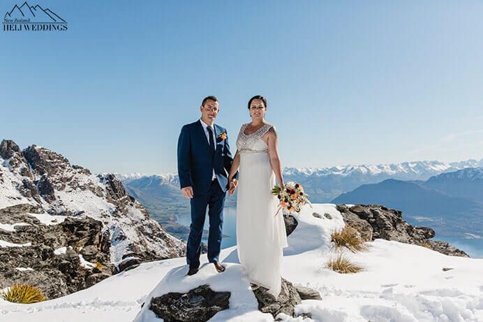 wedding photos of bride and groom on wedding day. the Ledge Destination Heli weddings Queenstown.