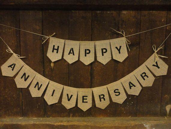 Happy Anniversary Bunting, Anniversary Banner, Anniversary Garland, Anniversary Decor, Personalized Anniversary, Burlap Bunting, Rustic on Etsy, $28.00