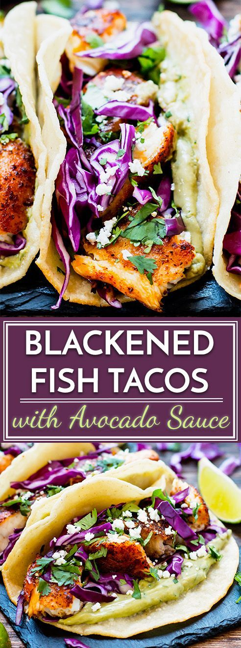 Blackened fish tacos are paired with a refreshing avocado, cilantro and lime sauce for an epic taco combo! They make a great healthy gluten-free dinner or lunch recipe and can be made with tilapia, cod, or any other white-fleshed fish.