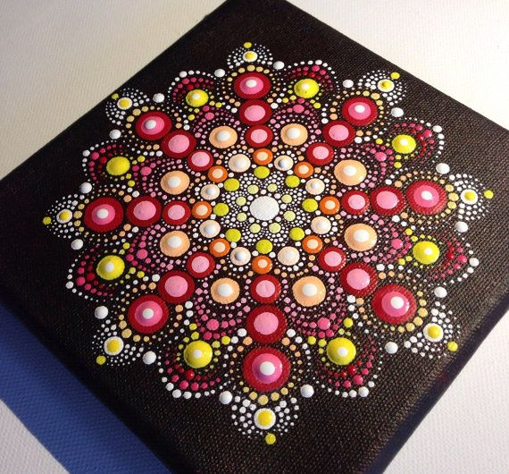 Original Dotart 15x15 Red Mandala Painting on Canvas, Painting, Office and home ornament decoration Gift Dotilism Dotart Henna Art