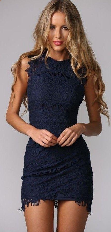 2015 navy blue cocktail dresses sexy high neck bodycon sheath short see through mini lace party vestidos