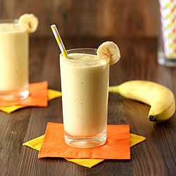 Banana Mango Yogurt Smoothie - healthy fruit smoothie made with only 3 ingredients