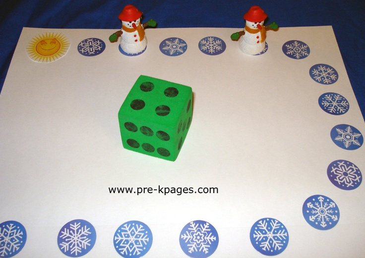 Winter Activities for Preschool & Kindergarten: This is a cute game that helps them with their numbers along with allowing them to have fun. They simply roll the dice and move their snowman that number of spaces. The winner is the person who gets to the end first!