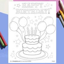 Happy Birthday Coloring Page -  Let kids show their artistic skills with this coloring birthday party activity.