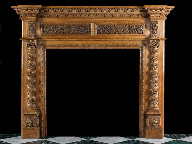 Antique Italian Renaissance Oak wooden fireplace mantel