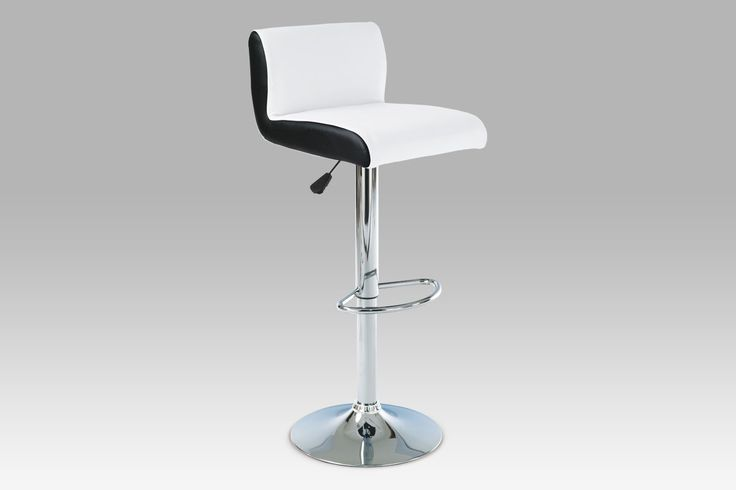 AUB-355 WT Barová židle, chrom / koženka bílá s černými boky