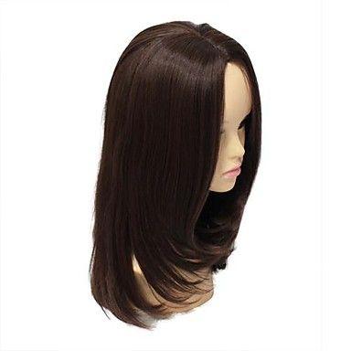 Capless High Quality Synthetic Medium Length Dark Brown Wig