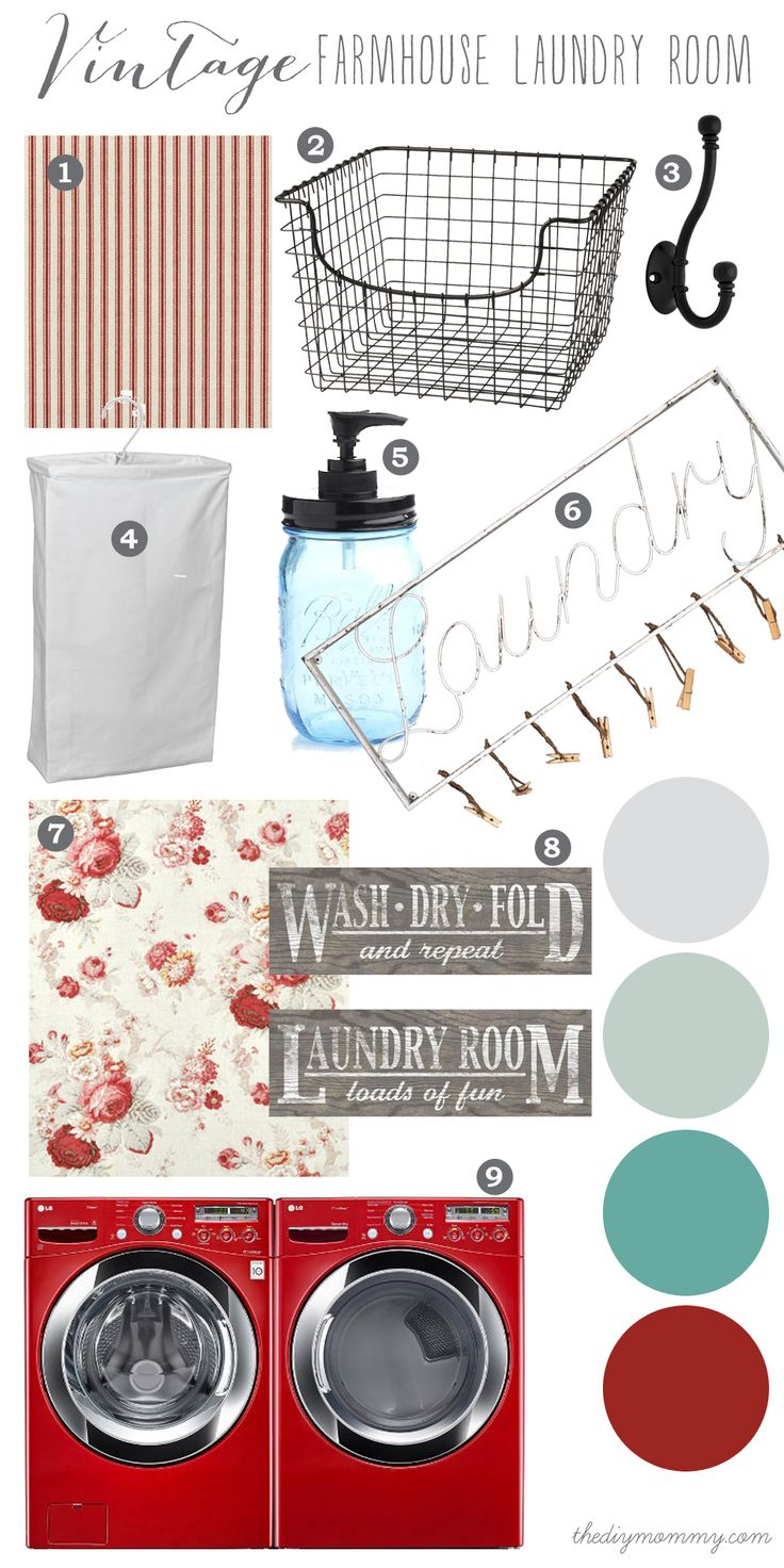 Mood Board: A Vintage Farmhouse Laundry Room in Cherry Red and Aqua
